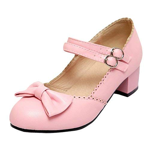 Jandes Sweet Chunky Heel Lolita Bow Toe Shoes9Pink Buckles Round Latasa Mary Cute Low Women's GLSUMVpqz