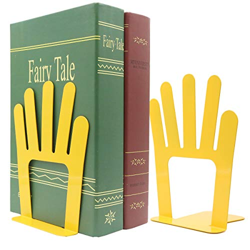 - Cute Five Fingers Palm of Open Hands Book Organizer One Pair Metal Bookends for Kids School Library Desk Study Home Office Decoration Gift (Yellow)