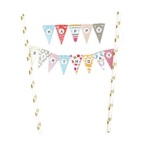 Mini Happy Birthday Cake Bunting Banner Cake Topper - Multicolor Pennant Flags with Gold Dots Straw Pole
