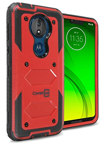 Moto G7 Power Case, Moto G7 Supra Case, Heavy Duty Full Body Rugged & Protective Hard Phone Case for The Motorola Moto G7 Power/Moto G7 Supra - Tank Series by CoverON (Energetic Red)