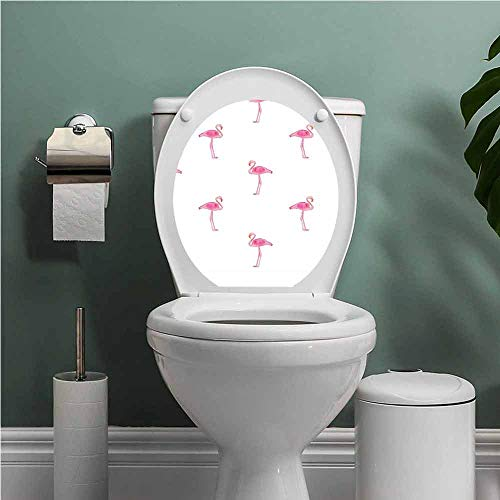 Dale Earnhardt Seat Covers - SCOCICI1588 Flamingo ToiletseatStickerDecal Flamingos Pattern with Watercolor Painting Effect Simple Design Art Print Toilet Decoration Pink and White W12XL14 INCH
