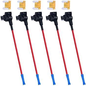 Niome 5PCS Car Auto 10A Fuse Tap Adapter Plug Distributor Mini ATM Circuit Holder