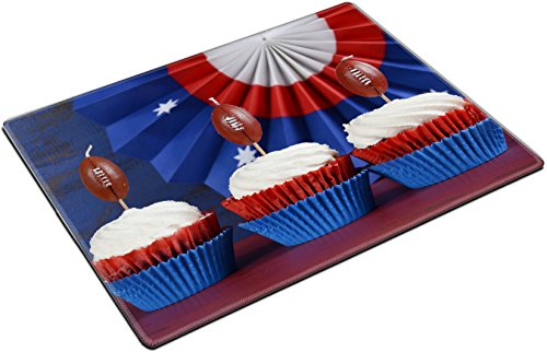 Funnies Sunday Desk Kids (MSD Place Mat Non-Slip Natural Rubber Desk Pads design: 35239476 Red white and blue theme cupcakes with football toppers for Super Bowl Sunday party or collage football f)