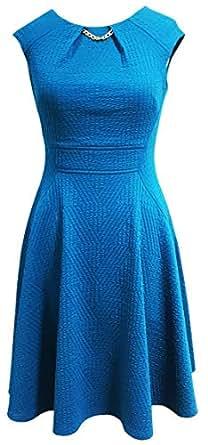Sandra Darren Women's Extended Shoulder Soft Textured Knit Fit & Flare Necklace Dress, Teal