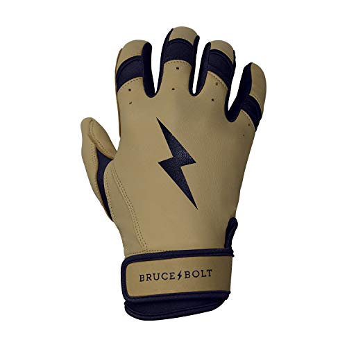 BRUCE+BOLT Youth Premium Pro Natural Series 100% Cabretta Leather Short Cuff Batting Gloves - Youth Large Tan Leather Navy Trim - - Tpx Pro Glove Series