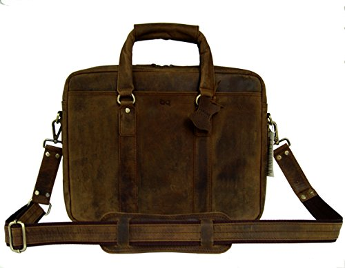 BASIC GEAR Full Grain Leather Messenger Bag Laptop Briefcase in Vintage Rustic look by Basic Gear (Image #2)