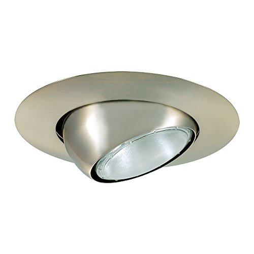 Line Voltage Eyeball Trim - Jesco Lighting TM613ST 6-Inch Aperture Line Voltage Trim Recessed Light, Adjustable Eyeball, Satin Chrome Finish