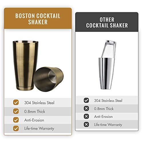 Boston Cocktail Shaker Bar Set By VinoBravo: 18oz & 28oz Shaker Tins, Hawthorne Cocktail Strainer, Double Jigger, 12'' Mixing Spoon, 7'' Drink Muddler and Recipes (Antique Brass) by VinoBravo (Image #2)