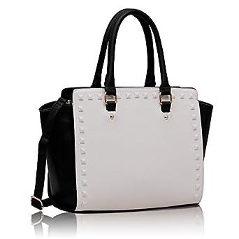 a365352d3f907 Handtaschen schwarz weiß Celebrity Style Damen Nietengürtel  Leder-Look-Designer-Handtasche