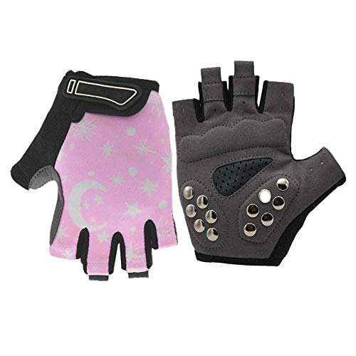 Gaocheng Kids Cycling Gloves Breathable Adjustable Half Finger Gloves Non-slip Mitten Summer Fingerless Mitts for…