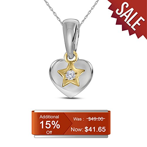 Baby Diamond Heart (0.02 cttw Round White Diamond 14K Yellow Gold over 925 Sterling Silver Heart Star Charm Pendant for kids baby teens)