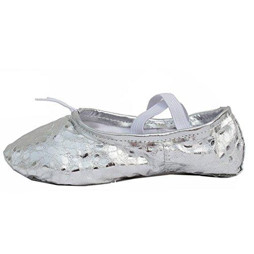 Lisianthus002 - Zapatillas de danza de poliuretano para niña Plateado - negro