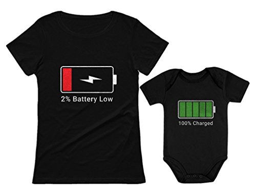 100% Charged and Low Battery Baby Bodysuit & Women's T-Shirt Funny Matching Set Mom Black Medium/Baby Black 18M (12-18M)