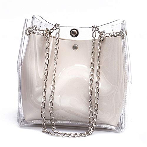 Women Small Bucket Bags Transparent Totes Chain Bag Mini Jelly H bags -