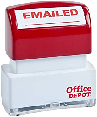 Amazon Office Depot Pre Inked Message Stamp Emailed Red 034212 Business Stamps Products