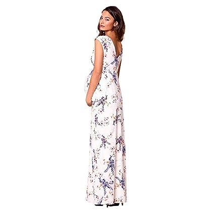 224e201560fa8 Amazon.com: Women Maternity Wrap Maxi Dress - Ladies Pregnant V Neck Floral  Print Cap Sleeve Photography Dresses (L, White): Home & Kitchen