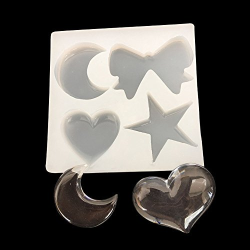 Heart Star Pendant - WYD Moon Star Bowknot Heart Light Pendant Casting Silicone Resin Mold Mold Crystal Beading DIY Jewelry Making Craft Cake Mold Tool