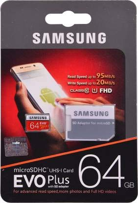 Buy Surenty D 64  GB MicroSDHC Class 10 95 MB/s Memory Card  with Adapter
