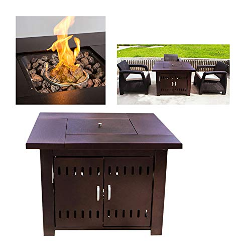 LP Gas Propane Powered 40000 BTUs Heat Fire Pit Table Heater w/ Lava Rock Stove Fireplace Outdoor Entertaining Home Garden Camping CSA Certified 38