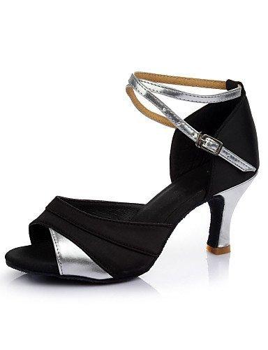Personnalisable Or De Des La cuir Femmes Samba Fille Danse Chaussures De Salsa Shangyi Personnalisé plus Latine Sandales De Satin Talon Simili Couleur S0ndq1n