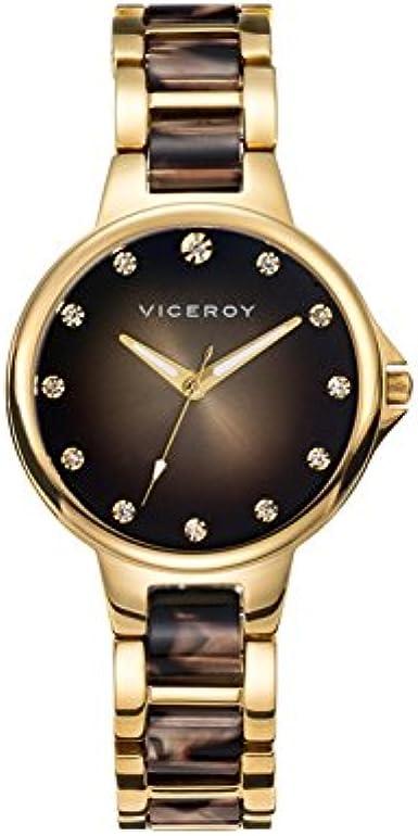 Reloj Viceroy de Mujer Femme Dorado Oro Amarillo y Carey, con circonitas 47852-45