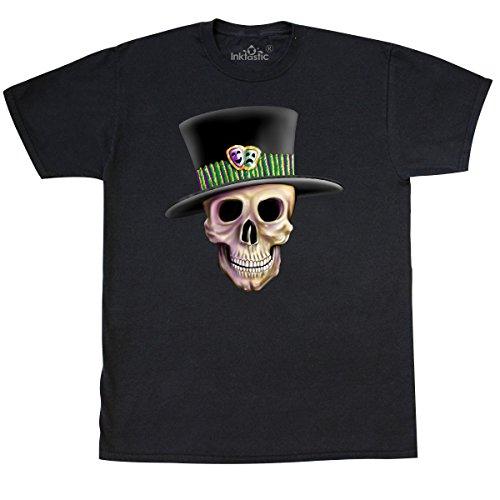 inktastic - Mardi Gras Skull T-Shirt X-Large Black -