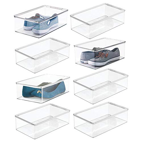 mDesign Stackable Plastic Closet Shelf Shoe Storage Organizer Box with Lid for Mens, Womens, Kids Sandals, Flats, Sneakers, 8 Pack - Clear ()