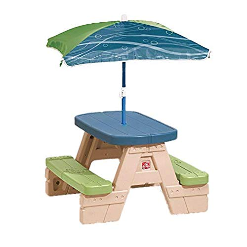 Bundle Includes 2 Items - Step2 Play and Fold Jr. Kids Slide and Step2 Sit and Play Kids Picnic Table with Umbrella by Step2 and Step2 (Image #2)