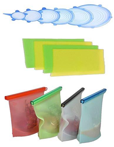 Set of Reusable Silicone Food Storage Bags (4pcs) ; Silicone Stretch Lids (6 different sizes) ; Foam Fridge Shelf Mat (4pcs)