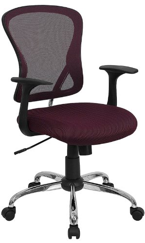 Mid-Back Burgundy Mesh Office Chair with Chrome Finished Base [H-8369F-ALL-BY-GG] Electronics, Accessories, Computer