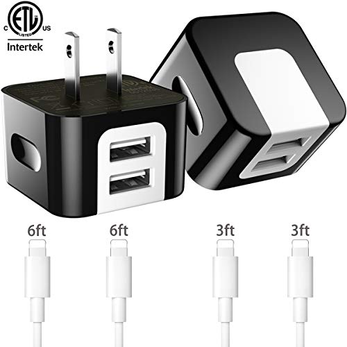 Chargers,Dodoli 2.4A Dual Port USB Wall Charger Block Power Adapter Plug Cube with 4-Pack Charging Cables Transfer Data Sync Compatible for iPhone 8 iPhone7 iPhone6 iPhone 5 iPad Mini(Black)