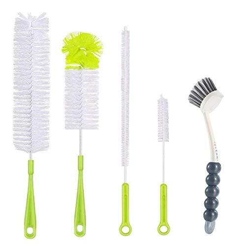 5Pcs Bottle Cleaning Brush Set-Long Handle Water Bottle Cleaner Brushes for Washing Wine Beer Baby Bottles,Include Grips Dish Brush|Bottle Brush|Kitchen Sink Brush|Straw Brush|Kettle Spout|Lid Brush