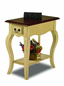 Leick Chair Side End Table, Ivory Finish
