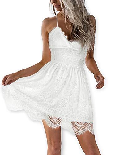 (AOOKSMERY Women White Summer V-Neck Spaghetti Straps Lace Backless Party Club Beach Mini Dresses (White, Small))
