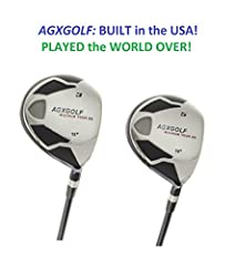 """BUILT IN THE U.S.A !! AGXGOLF MEN'S RIGHT HAND; """"MAGNUM XS"""" FAIRWAY WOODS SET: #3 & #5 FAIRWAY WOODS with YOUR CHOICE OF SENIOR, REGULAR OR STIFF FLEX GRAPHITE SHAFTS +FREE HEAD COVERS FOR BOTH WOODS: ALL SIZES !! BUILT IN THE U.S.A !! Th..."""
