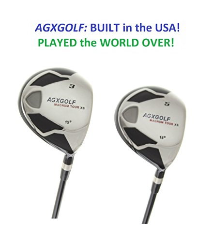 AGXGOLF Men's MAGNUM 3 & 5 Fairway Woods Set: Graphite Shafts + Head Covers Right Hand: Men's TALL (+1.0 inch) Length, Regular Flex