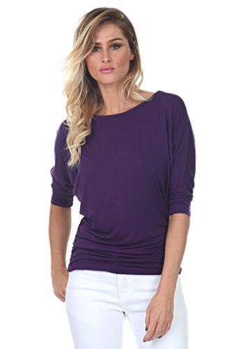 001 Womens Round Neck Dolman Top 3/4 Sleeve Side Shirring Eggplant Medium (Women Dolman Sleeve)