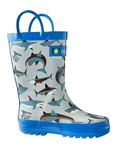 Oakiwear Kids Rubber Rain Boots with Easy-On Handles (1 M US Little Kid, Shark Frenzy)