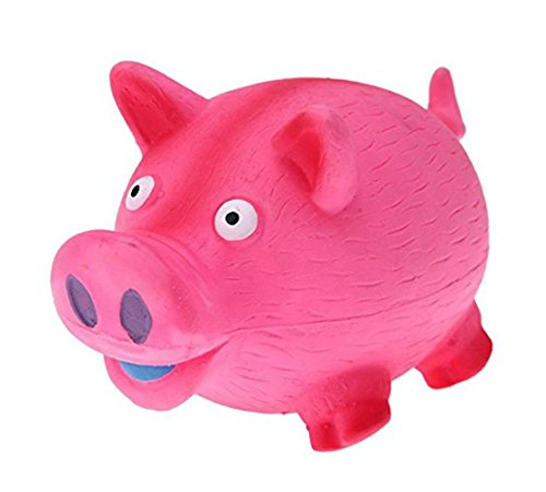 Tau Trading Squeaky Loud and Funny Dog Toy - Pink Pig (Multipet Latex Polka Dot Globlet Pig Dog Toy)