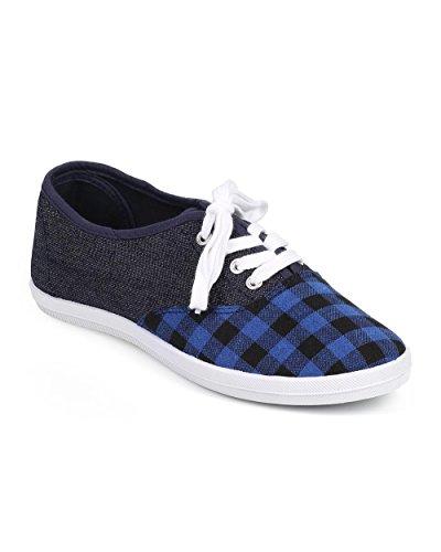Wild Diva Women Gingham Plaid Cap Toe Classic Lace up Sneaker DF38 - Blue Denim (Size: 6.0) - Classic Plaid Sneakers