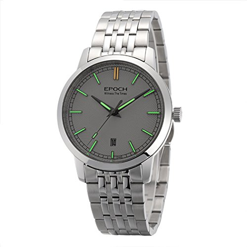 EPOCH 6026G A Style Water Resistant 50M T25 Tritium Luminous Mens Dress Ultrathin Automatic Self-Wind Mechanical Wrist Watch (White dial Green Luminous)