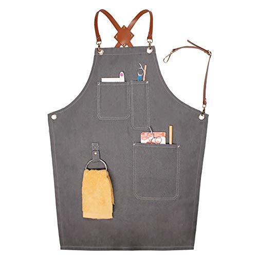 Sushiyi Work Apron - Adjustable Cross-Back Straps with Mulit-Tool Pockets - Barista BBQ Grill Gardener Restaurant Cross Back Straps Aprons (Grey)