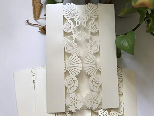 Pearl Cream Rustic Laser Cut Wedding Cards,Seashell Laser Cut Wedding Invitation,Vintage Wedding Invitation, Elegant Wedding Invitation, Beach Wedding Invites,Invitation Cards,50pcs ()