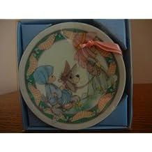 "1993 Enesco Precious Moments Mini Plate Hanging Ornament ""Oh Little Town of Bethlehem"" #250465"