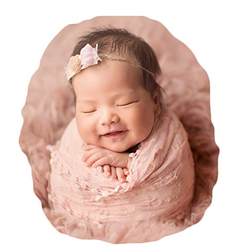 Baby Photography Props Blanket Newborn Photo Shoot Outfits Infant Photos Lace Wrap (Light Orange)