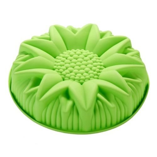 Happy Baking Silicone Mold 10 inch Sunflower Birthday Cake Pan Bread Pizza Gelatin Salad Shallow Silicone Mold