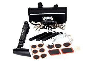 FreshGadgetz 1 set de portátil 16 en 1 para reparación de pinchazos de bicicleta con mini bomba