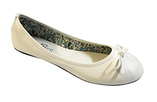 Shoes 18 Womens Classic Round Toe Ballerina Ballet Flat Shoes White 113
