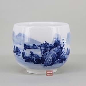 Pintado a mano paisaje chino azul y blanco porcelana SHANSHUI taza de té 80cc B