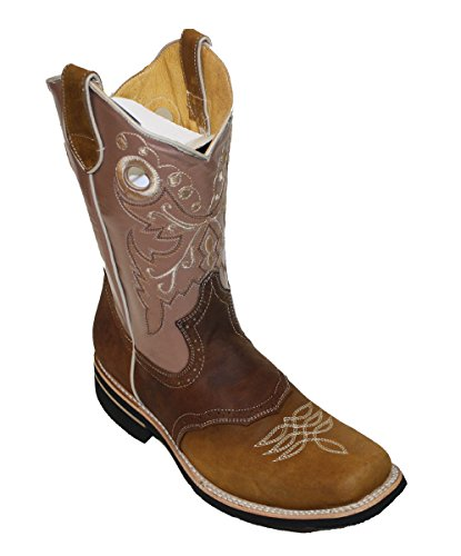 Men cowboy Genuine Cowhide Leather square toe rodeo western ()